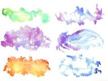 Tache d'aquarelle L'ensemble de couleurs éponge - texture - vert, bleu, v Images stock