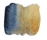 Tache d'aquarelle d'un mélange d'indigo et ocre abstraits, bl images stock