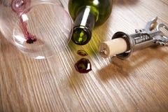 Tache de vin rouge sur le plancher en bois Photo libre de droits