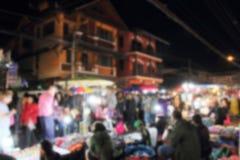 Tache floue abstraite de rue de marche du marché la nuit Images libres de droits