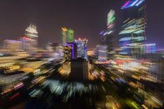 Tache floue de bourdonnement de Saigon Ho Chi Minh Cityscape Nightlife Photographie stock libre de droits