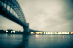 Tache floue de lumières de pont Photographie stock libre de droits