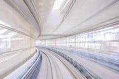 Tache floue de mouvement de tunnel de chemin de fer japonais image stock