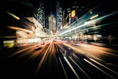 Tache floue de mouvement moderne de ville Hon Kong Le trafic abstrait b de paysage urbain images stock