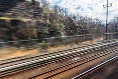 Tache floue de voies de train Photographie stock