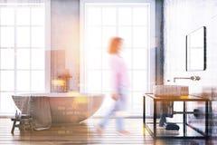 Tache floue intérieure de salle de bains concrète de luxe Image stock