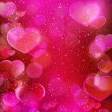 Tache floue magenta rouge foncé de coeurs, thème romantique Photos stock