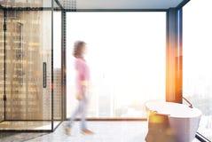 Tache floue panoramique de salle de bains, de baquet et de douche illustration de vecteur