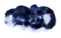 Tache foncée d'aquarelle bleue Photo stock