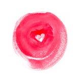 Tache ronde rose d'aquarelle avec le coeur au milieu Image stock