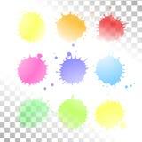 Tache transparente d'aquarelle de vecteur Ensemble de taches d'encre illustration de vecteur