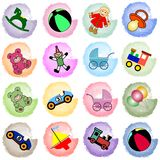 Taches avec des jouets Images stock
