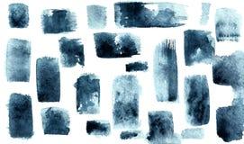 Taches bleues grises avec une brosse Courses verticales et horizontales illustration libre de droits