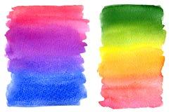 Taches colorées de peinture d'arc-en-ciel d'aquarelle Images libres de droits