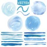 Taches d'aquarelle, brosses Océan bleu, mer, ciel illustration stock