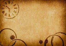 Taches de café et fond de parchemin de vélin d'horloge Images libres de droits