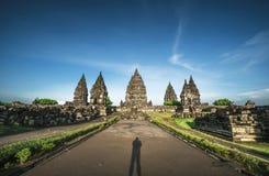 Taches de touristes indonésiennes de temple de Prambanan Photo stock