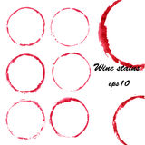 Taches de vin d'aquarelle Photos stock