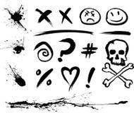 Taches et symboles d'encre illustration de vecteur