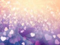Taches floues colorées de coeurs brillants abstraits de fond d'amour Image libre de droits