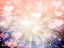 Taches floues colorées de coeurs brillants abstraits de fond d'amour Images libres de droits