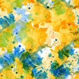 Taches sans couture jaunes et bleues d'aquarelle de modèle illustration stock