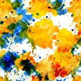 Taches sans couture jaunes et bleues d'aquarelle de modèle illustration libre de droits
