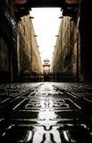 Taches scéniques dans Hengdian, bâtiments noirs et blancs Photographie stock libre de droits