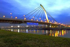 TaChih Bridge at night in Taipei Stock Photo