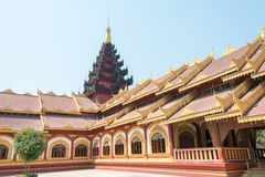 Tachileik, Myanmar - Feb 26 2015: Wooden pagoda temple. a temple. Is in downtown of Tachileik, Myanmar Stock Photos