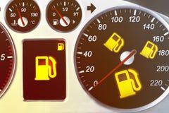 Tachimetro dell'automobile con l'indicatore e le luci d'avvertimento Immagine Stock Libera da Diritti