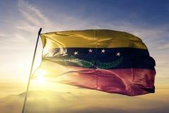 Tachira-Zustand des Venezuela-Flaggentextilstoffgewebes, das auf den Spitzensonnenaufgangnebelnebel wellenartig bewegt lizenzfreies stockfoto