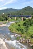 Tachiya river and railroad bridge in Yamadera, Yamagata Royalty Free Stock Image