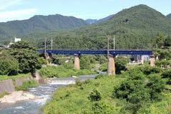 Tachiya river and railroad bridge in Yamadera, Yamagata Royalty Free Stock Images