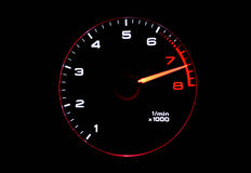 Tachometer. Isolated tachometer showing high RPM Stock Photography