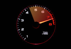 Tachometer. Isolated tachometer showing high RPM Stock Images