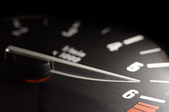 Tachometer. On maximum speed close-up Stock Photo