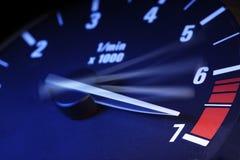 Tachometer. Car tachometer on maximum speed Stock Image
