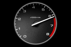 Tachometer of the car. Tachometer almost at the danger red zone Royalty Free Stock Photo
