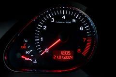 Tachometer. On a car dashboard closeup Stock Image