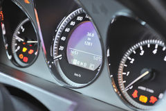 Tachometer on dashboard. Details of tachometer dial on vehicle dashboard Royalty Free Stock Photography