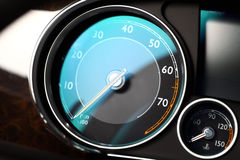 Tachometer detail. Detail of a tachometer and a coolant temperature gauge in a car Stock Image