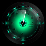 Tachometer green  isolated on black. 3D render Stock Photo