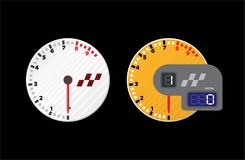 Tachometer het rennen en snelheidsmeter met LCD geïsoleerde vertonings digitale backlight Stock Foto's
