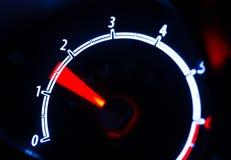 Tachometer illuminated at night Stock Photography