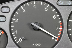 Tachometer in red sphere Stock Image