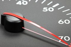 Tachometer in red sphere Stock Photo