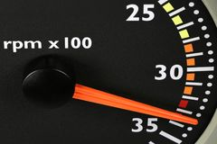 Tachometer. Of a truck in red sphere Stock Photo