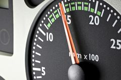 Tachometer. Of a truck at economic mode of operation Royalty Free Stock Images
