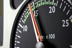 Tachometer. Of a truck at economic mode of operation Royalty Free Stock Photography